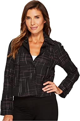Ellen Tracy - Contrast Stitch Detail Tweed Jacket