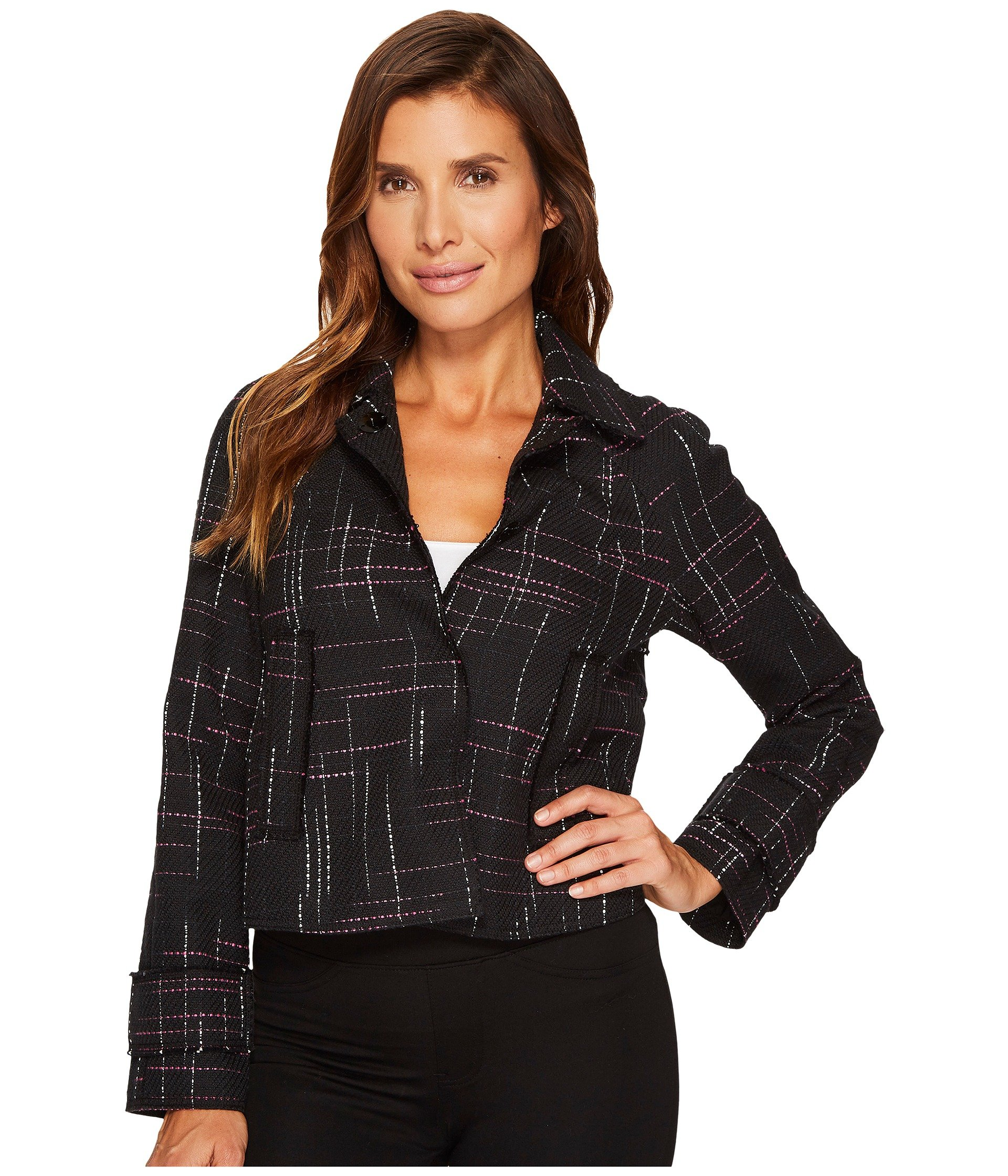 ELLEN TRACY Contrast Stitch Detail Tweed Jacket, Aurora Stripe