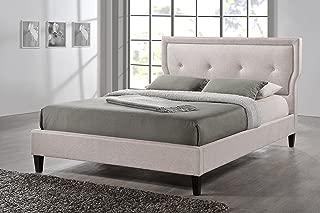 Baxton Studio Marquesa Fabric Upholstered Platform Bed, Light Beige, Queen