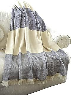EE Ella Ember 100% Alpaca Wool 2 Color Luxury Blanket Throw - Herringbone Pattern - Ethically Produced - Handmade - Washable (Ivory Navy)
