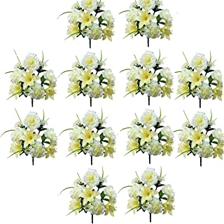 Realistic Faux Flower Bouquets or Centerpiece Arrangements, 12 Unit Pack, Wedding Party, Spring Whites, Silky Blooms of Roses, Lilies, and Hydrangea Spray, Grass, Leaves, Each 16 Inches Tall