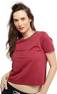 ZEYO Women Cotton Maroon Crop Top Half Sleeve Round Neck Solid PlainTees