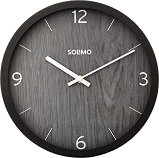 "Amazon Brand - Solimo 12"" Wall Clock - Paramount Dark Paneling (Silent Movement, Black Frame)"