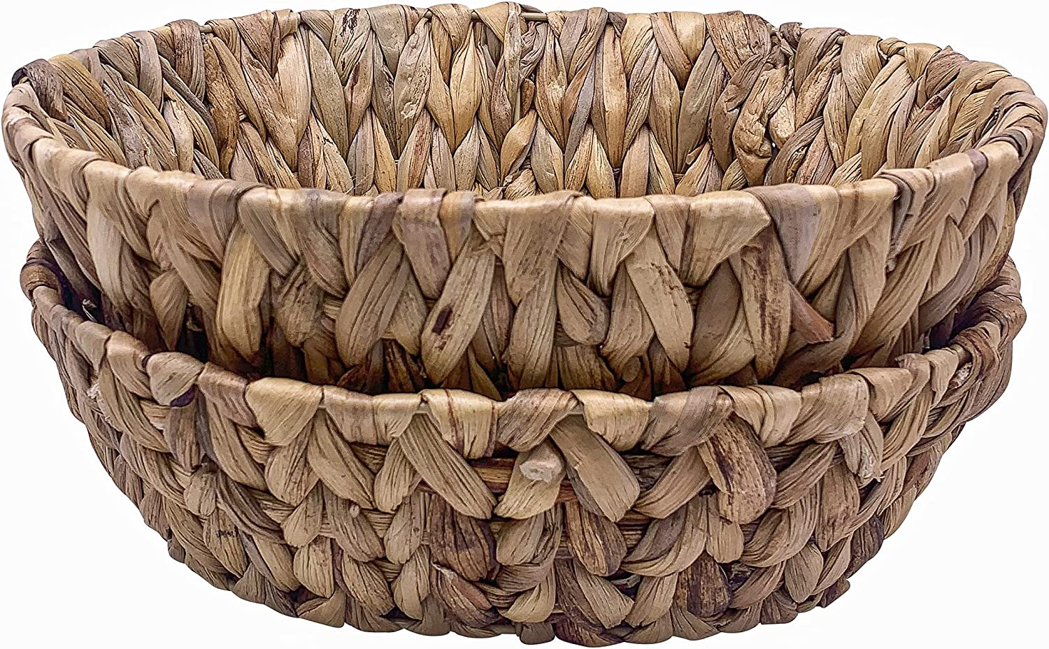 Natural Water-Hyacinth Baskets for Serving - 2-Piece Oval Woven Baskets for Bread, Chips, Fruit - Wicker Bowls for Organizing - Gifts Holder Empty - Eco-Friendly Rustic Home Decor - 11.4 x 3.5 Inches