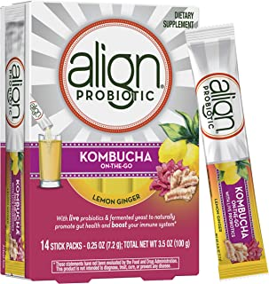 Align Kombucha Probiotic Supplement, Immune Support & Gut Health, 14 On-The-Go Powdered Stick Packs (Mix with Water and Drink) with Fermented Yeast and Live Probiotics