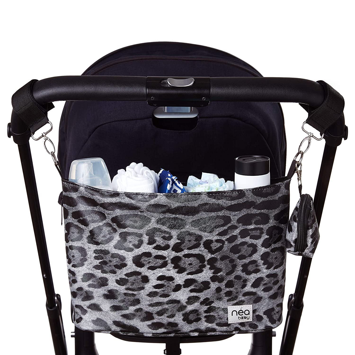 Stylish Stroller Organizer with Cup Holders and Detachable Pacifier Holder Case- Extra Storage Stroller Caddy Holds Mother's Care Products- Black Leopard
