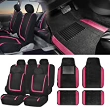 FH Group FH-FB032115 Unique Flat Cloth Seat Covers with F14407 Premium Carpet Floor Mats, Pink/Color- Fit Most Car, Truck, SUV, or Van