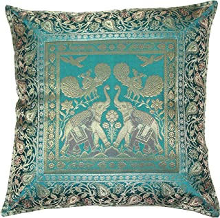 Real online seller Indian Ethnic Hand Embroidery Elephant Print Decorative Silk Cushion Cover, Handmade Banarsi Indian Pillow Cover, Handmade Pillow Cover 16 X 16 Inch (Silk)