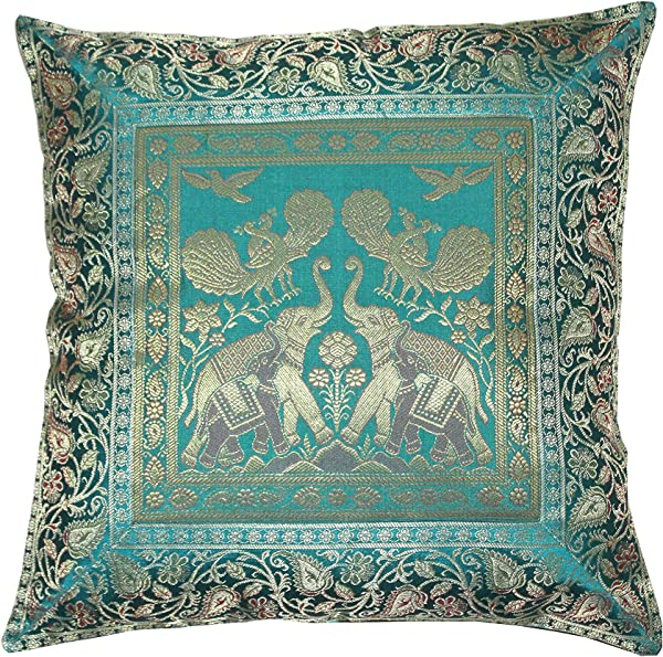Real Online Seller Indian Ethnic Hand Embroidery Elephant Print Decorative Silk Cushion Cover Handmade Banarsi Indian Pillow Cover Handmade Pillow Cover 16 X 16 Inch Silk