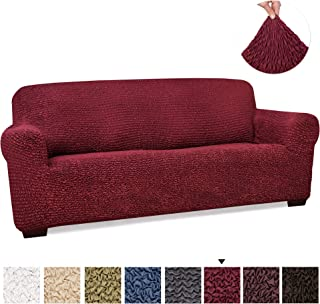 PAULATO BY GA.I.CO. Couch Cover - Sofa Cover - Sofa Slipcover - Soft Polyester Fabric Slipcover - 1-Piece Form Fit Stretch Stylish Furniture Cover - Microfibra Collection - Bordeaux (Sofa)