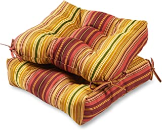 Greendale Home Fashions Indoor/Outdoor Chair Cushions, Kinnabari Stripe, 20-Inch, Set of 2