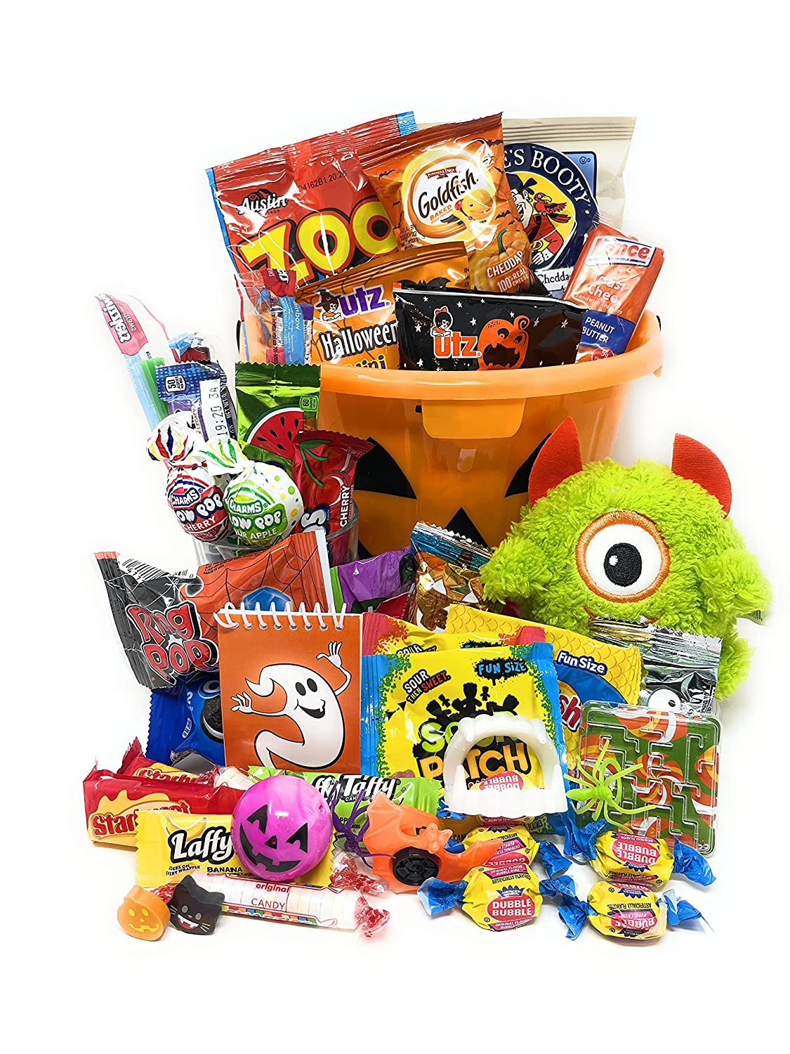 Halloween Candy Trick or Treat Pumpkin Bucket - Already Filled 50 Pieces Snacks Cookies Candy Gift Pack Care Package Assortment Basket Bundle for Children Kids Boys Girls College Students