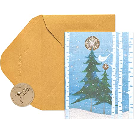 Papyrus Christmas Cards Boxed, Holiday Snowbird and Tree (20-Count)