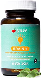 Yuve Vegan Ginkgo Biloba 60mg Supplement - Promotes Memory, Mental Sharpenss & Focus - Natural Brain Support - Pure Herbal...