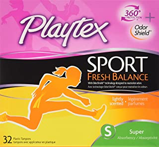 Playtex Sport Fresh Balance Tampons with Odor Shield Technology, Super, Scented - 32 Count