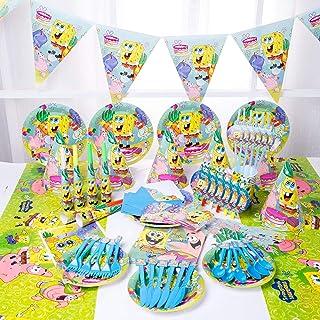 مجموعة من 90 قطعة من سبونج بوب سكوير بانتس للحفلات للاستعمال مرة واحدة مجموعة أدوات طاولة ديكور مجموعة من قماش طاولة الكري...