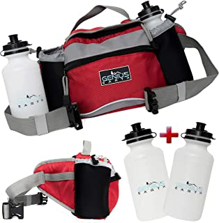 Genius Earth Travel/Hiking Fanny Pack with Water Bottle Holder, Set of 2 Bottles Included. Multifunctional Waterproof Waist Bag and Lumbar Pouch - Fits Women, Men and Kids. Perfect Dog Walking Pack.