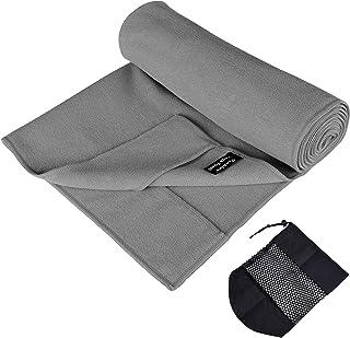 Techion Yoga Towel, Polyester Non-Slip, Sweat Absorbent Yoga Mat Towel for Hot Yoga and Bikram Yoga - 63 x 183 cm (Gray)