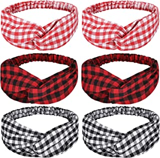 6 Pieces Plaid Headbands Plaid Criss Headbands Retro Plaid Elastic Head Wraps Plaid Christmas Hair Accessories for Women Girls