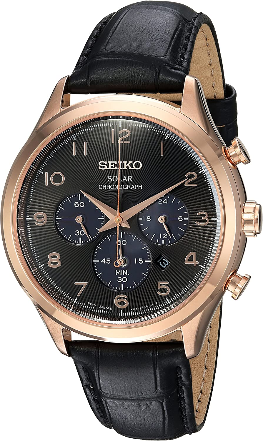 Seiko Mens Solar Chronograph Stainless Steel Japanese-Quartz Watch with Leather Calfskin Strap, Black, 21 (Model: SSC566)