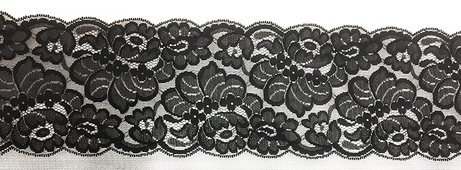 Fancy 6 Inch Black Lace - Floral Lace Trim, for Garment And DIY - 3 Yard