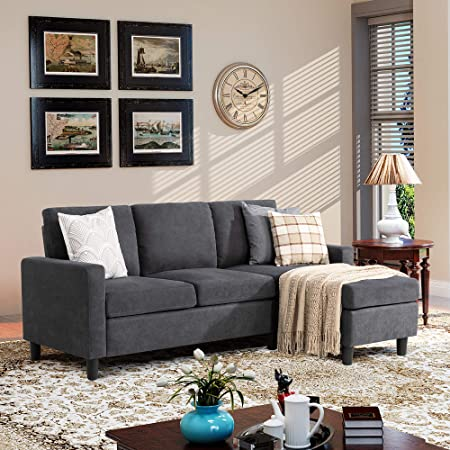 Walsunny Convertible Sectional Sofa Couch with Reversible Chaise, L-Shaped Couch with Modern Linen Fabric for Small Space (Dark Grey)