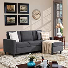 Walsunny Convertible Sectional Sofa Couch with Reversible Chaise, L-Shaped Couch with Modern Linen Fabric for Small Space ...