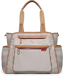Skip Hop Diaper Bag Tote with Matching Changing Pad, Grand Central/French Stripe