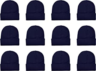 Unisex Beanie Cap Knitted Warm Solid Color and Multi-Color Multi-Packs