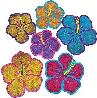 Glitter Hibiscus Flower Cutouts (1 Dozen) - Bulk