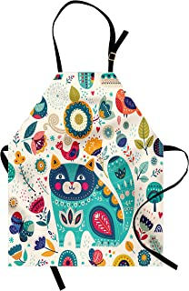 Ambesonne Cat Apron, Cat with Birds Flower Leaf Trees Butterflies Spring Ornate Illustration, Unisex Kitchen Bib with Adjustable Neck for Cooking Gardening, Adult Size, Cream Teal