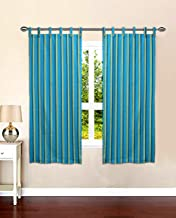 RAKSHA Cotton Loop Window Curtain (2 Pieces Combo) -5 ft, Blue