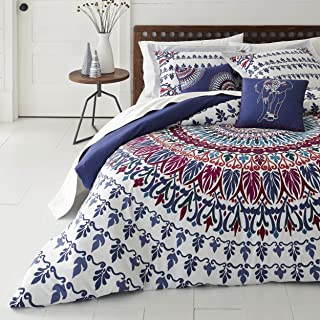 5 Piece Bohemian Medallion Patterned Comforter Set King Size, Featuring Tribal Boho Medallions Colorful Feathers Bedding, Bold Abstract Indie Tribe, Classic Unique Feather Style Bedroom, Blue, Maroon