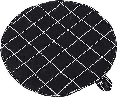 【 北欧デザイン 】WhiteLeaf 鍋敷き 布製 耐熱 モノトーン 直径25cm × 厚み2cm 大きめ サイズ (ブラックチェック)