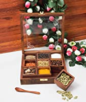 CRAFTCASTLE Elegant Sheesham Wooden Spice Rack | Dabba Multipurpose | Masala Box & Containers for Spices Use | Masala...