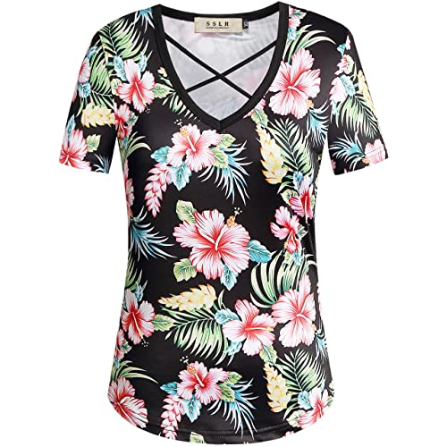 f308f71446d1 SSLR Women's Cross V Neck Casual Short Sleeve Hawaiian T Shirt Tops