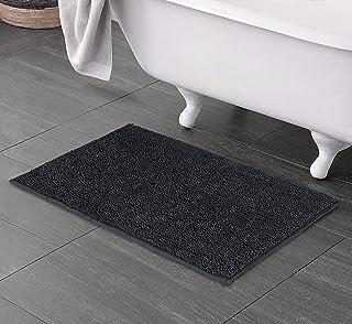 Welhome Alfombra de baño de Microfibra Chenille Altamente Absorbente - Suave y Gruesa - Respaldo Antideslizante - Durable - Lavable a máquina - 50 x 80 cm - Grey Pewter