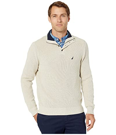 Nautica Button Mock Neck Sweater (Oatmeal Heather) Men