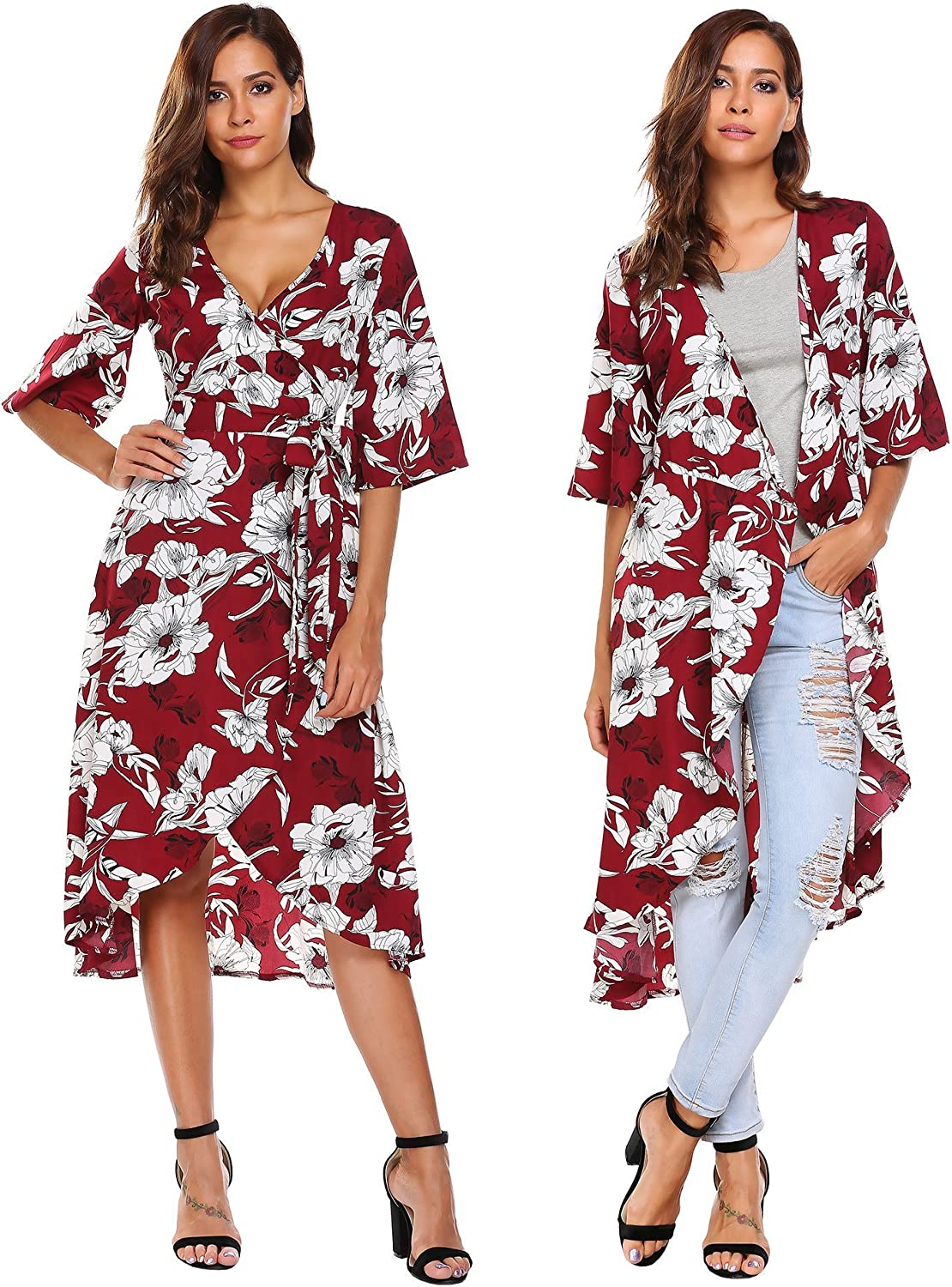 Pasttry Women's Floral Cardigan Flowy Trumpet Sleeve Party Beach VNeck Wrap Dress Cover up