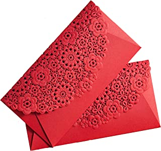 AUCH 8Pcs Deluxe Hollow Out Chinese Red Envelopes/Money Pocket/Party Accessory Organizer Envolop for Bussiness Occassion/I...