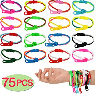 75-Pack Party Zipper Bracelets Set,Friendship Fidget Bracelets 7.5 Inches Sensory Toys Party Pack By SephireREX,Stress Relief Toys for Birthday Party Favors,Killing Time, ADHD