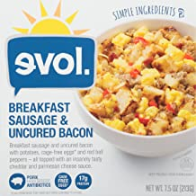 EVOL Breakfast Sausage and Uncured Bacon Bowl with Potatoes, Eggs and Red Bell Peppers in Cheddar and Parmesan Sauce, 7.5 Ounce (Frozen)