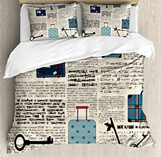 Ambesonne Old Newspaper Decor Duvet Cover Set Queen Size, Retro Style Travel Vacation Theme Vintage Suitcases Keys Dot Text, Decorative 3 Piece Bedding Set with 2 Pillow Shams, Cream Blue Black