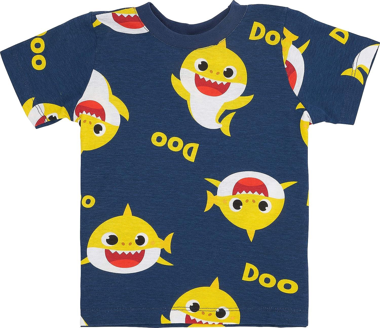 Baby Shark T-Shirt with All Over Print - Toddler Boys Baby Shark Short Sleeve T-Shirt