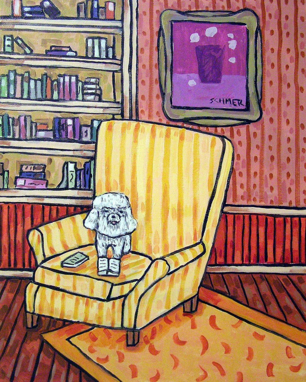 Bichon Trust New sales Frise Reading inthe Library Study dog pri signed art Room
