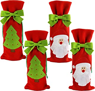 Houwsbaby 4 pcs Christmas Wine Bottle Cover Set Santa Champagne Holders Xmas Drawstring Gift Bags for Holiday Décor Hotel Ornament Home Kitchen Table Party Supplies, Red, 13.5'' (04)