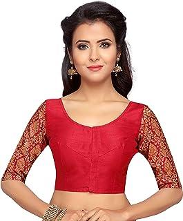STUDIO Shringaar Women's Brocade Sleeve Readymade Saree Blouse With Round Neck