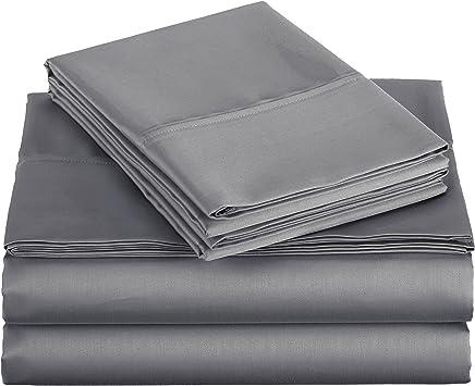 AmazonBasics 400 Thread Count Sheet Set, Twin, Dark Gray