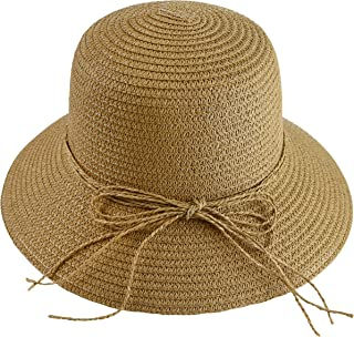 Wasolola Straw Hat for Women Floppy Wide Brim Sun Beach Hat UV Protection Foldable Bowknot Design Chin Strap