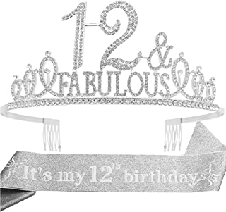 12th Birthday Gifts for girls,12th Birthday Tiara and Sash Silver,12th Birthday Decorations Party Supplies,It's My 12th Bi...